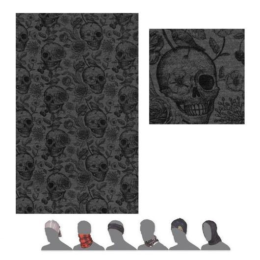 šátek roura SENSOR TUBE MERINO IMPRESS černý/skulls