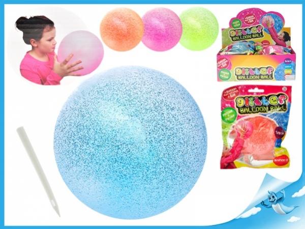 balónek nafukovací 25cm s glitry, modrý