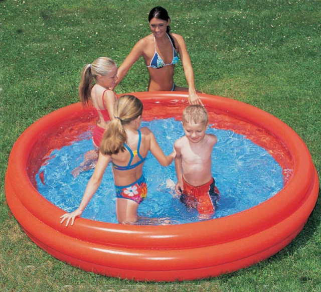 bazén nafukovací 3 komory 152x30cm, červený