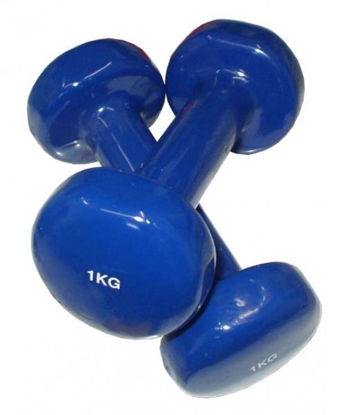 činky jednoruční 2x1kg modré