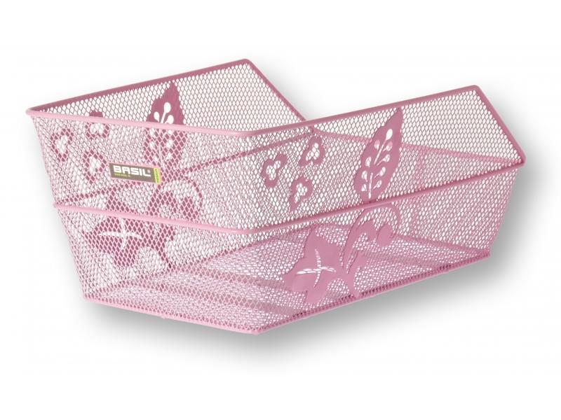 koš BASIL Cento Flower zadní drátěný růžový +držák