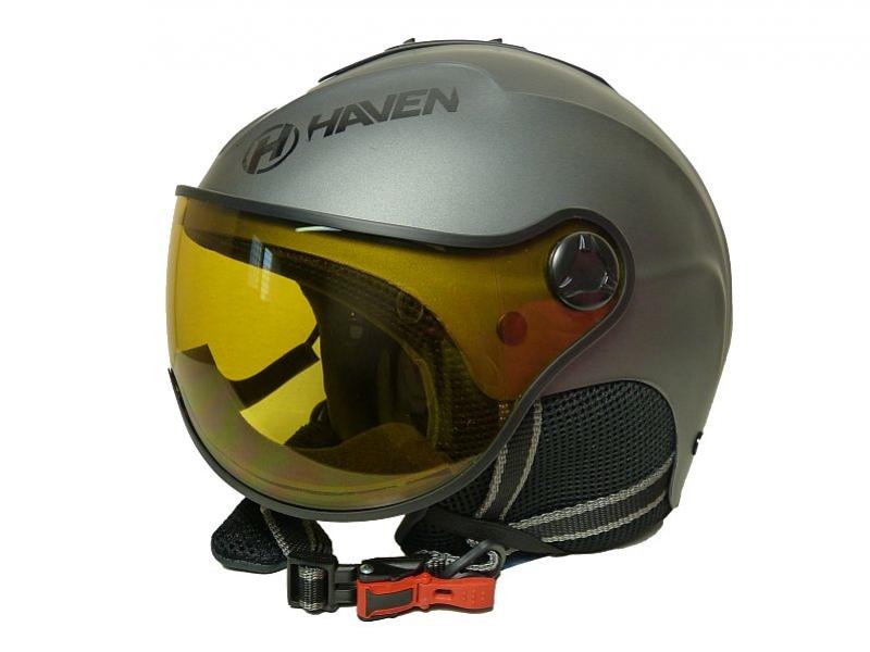 přilba lyžařská HAVEN Visor titan + černé brýle, S