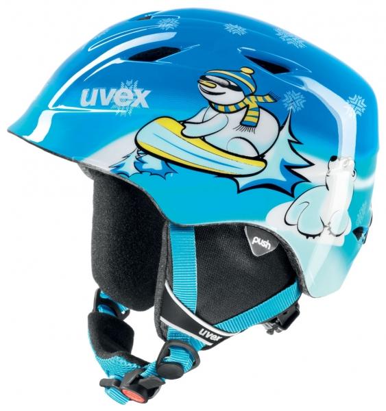 přilba lyžařská UVEX AIRWING 2 modrá/sněhulák, 46-50