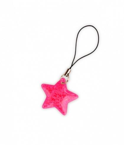 taháček reflexní na zip Hvězda růžová