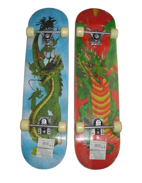 skateboard závodní drak s protismykem, červený