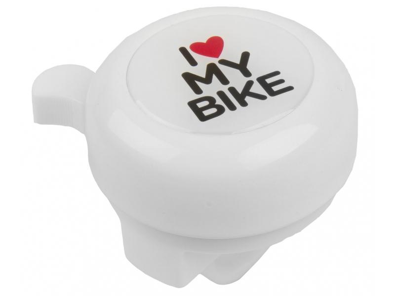 Zvonček M-Wave I love my bike - biely